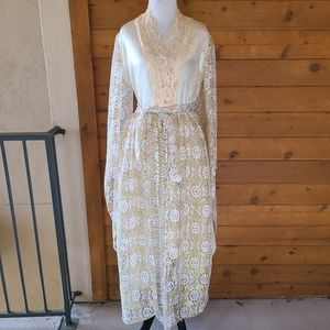 Vintage 70's Lace Bell Sleeve Gold Cream Dress